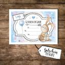 A6 Geschenkkarte Postkarte Gutschein zur Geburt mit Hase Häschen für Jungs A6 voucher postcard for birth with bunny rabbit for boys pk096.jpg