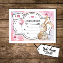A6 Geschenkkarte Postkarte Gutschein zur Geburt mit Hase Häschen für Mädchen A6 voucher postcard for birth with bunny rabbit for girls pk097.jpg