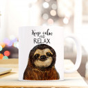 Tasse Becher Kaffeetasse Kaffeebecher Kindertasse Kinderbecher Faultiertasse Faultier mit Spruch keep calm and relax cup mug coffee cup coffee mug children cup children mug sloth with quote saying keep calm and relax ts410
