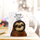 Tasse Becher Kaffeetasse Kaffeebecher Kindertasse Kinderbecher Faultiertasse Faultier mit Spruch Sprichwort Zitat genieße die langsamen Dinge cup mug children cup children mug coffee cup coffee mug sloth with quote saying enjoy the slow things ts411