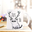Tasse Becher Kaffeetasse Kaffeebecher Kindertasse Kinderbecher grumpy cat mit Geweih und Spruch deswegen heißt es auch... deine Probleme cup mug coffee cup coffee mug children cup children mug grumpy cat with antlers and quote saying that's why it called.