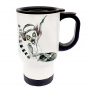 Tasse Becher Thermotasse Thermobecher Thermostasse Thermosbecher DJ Lemur Diskjockey Affe cup mug thermo mug thermo cup DJ Lemur diskjockey monkey tb015
