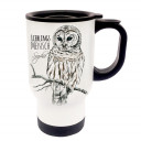 Wunschnamen Tasse Becher Thermotasse Thermobecher Thermostasse Thermosbecher Eule Schneeeule Kauz mit Spruch Lieblingsmensch und Wunschnamen cup mug thermo mug thermo cup owl snow owl codger with saying favourite person and desired name tb023