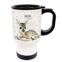 Tasse Becher Thermotasse Thermobecher Thermostasse Thermosbecher Reh Rehkitz mit Punkten und Spruch Lieblingsmensch cup mug thermo mug thermo cup deer fawn with dots and saying favourite person tb030