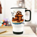 Thermobecher Thermotasse Thermosflasche Becher Tasse Faultier Angler mit Spruch keep calm and go fishing thermo cup sloth fisherman with quote saying keep calm and go fishing tb079.jpg
