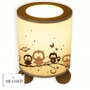 Tischlampe Eulen auf Zweig mit Schmetterlingen table lamp owls on branch with butterflies tl034