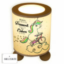 Tischlampe Nachttischlampe Lampe Einhorn auf Fahrrad mit Sternen Punkten und Spruch Traumwelt table lamp bedside lamp unicorn on bike with stars dots and saying dreamworld tl044