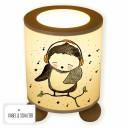 Tischlampe Nachttischlampe Leselampe Schlummerlampe Lampe Musikeule mit Noten und Punkten table lamp reading light snooze lamp music owl on branch with headphones notes and dots tl055