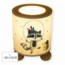 Tischlampe Nachttischlampe Leselampe Schlummerlampe Lampe Boho Waschbär Indianer mit Igel und Punkte table lamp snooze light reading lamp boho raccoon indian with hedgehog and dots tl058