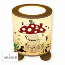 Tischlampe Nachttischlampe Leselampe Schlummerlampe Lampe Fliegenpilz mit Eulen Fuchs Igel und Elfen Feen table lamp reading light snooze light fly agaric toadstool with owls fox hedgehog and fairies pixies elves tl060