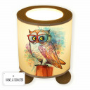 Tischlampe Nachttischlampe Leselampe Schlummerlampe Lampe Eule auf Stamm mit Brille Aquarell table lamp reading lamp snooze light owl on branch with goggles water color tl065