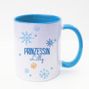 Tasse Becher Kaffeetasse Kaffeebecher Kindertasse Kinderbecher Prinzessin Lilly mit Schneeflocken Schneekristalle und Wunschname in blau cup mug kids cup kids mug coffee cup coffee mug saying princess Lilly with snowflakes snow crystals and desired name i