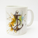 Tasse Becher Kaffeetasse Kaffeebecher Kindertasse Kinderbecher Tasse Anker mit Tau maritim orange gelb braun cup mug kids cup kids mug coffee cup coffee mug anchor with rope maritime orange yellow brown ts179
