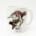 Tasse Becher Kaffeetasse Kaffeebecher Kindertasse Kinderbecher Kaninchen Hase mit Schal Mütze Tee und Spruch Mom's Auszeit cup mug kids cup kids mug coffee cup coffee mug bunny rabbit with scarf cap tea and saying mom's time-out ts194