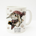 Tasse Becher Kaffeetasse Kaffeebecher Kindertasse Kinderbecher Kaninchen Hase mit Schal Mütze Tee und Spruch it's cold outside cup mug kids cup kids mug coffee cup coffee mug bunny rabbit with scarf cap tea and saying it's cold outside ts195
