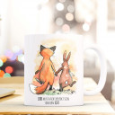 Tasse Hase und Fuchs mit Spruch Liebe muss nicht perfekt sein sondern echt Cup rabbit and fox saying love don't have to be perfect, but real ts287