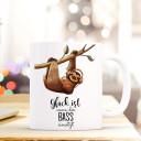 Becher Tasse Kaffeetasse Kaffeebecher Faultier mit Spruch Glück ist wenn der Bass einsetzt Cup mug sloth with quote saying happiness is when the bass starts ts422_H.jpg