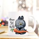 Becher Tasse Kaffeetasse Kaffeebecher Hase Häschen mit Karotte und Spruch Mama hat immer recht Cup mug coffee mug bunny rabbit with carrot and quote saying mama is always right ts430_H.jpg