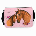 Schultertasche Schultasche Tasche Pferd mit Fohlen und Wunschnamen satchel sling bag school bag horse with foal and desired name tsu01