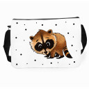 Schultertasche Schultasche Kindertasche Umhängetasche Tasche Waschbär mit Punkten und Wunschnamen satchel sling bag school bag kids bag childrens bag raccoon with dots and custom name tsu09