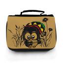 Waschtasche Waschbeutel Kulturbeutel Kosmetiktasche Reisewaschtasche Bob Marley Reggae Eule im Gras mit Gitarre washbag toilet bag sponge bag cosmetics bag travel washbag Bob Marley Reggae owl in grass with guitar wt057