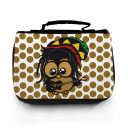 Waschtasche Waschbeutel Kulturbeutel Kosmetiktasche Reisewaschtasche Bob Marley Reggae Eule mit Gitarre braun gepunktet washbag toilet bag sponge bag cosmetics bag travel washbag Bob Marley Reggae owl with guitar brown doted wt058