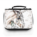 Waschtasche Waschbeutel Kulturbeutel Kosmetiktasche Reisewaschtasche Einhorn mit Punkten und Wunschnamen washbag toilet bag sponge bag cosmetics bag travel washbag unicorn with dots and custom name wt073