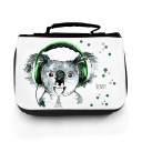 Waschtasche Waschbeutel Kulturbeutel Kosmetiktasche Reisewaschtasche Koala Bär mit Kopfhörer Punkte und Wunschnamen washbag toilet bag sponge bag cosmetics bag travel washbag koala bear with headphones dots and custom name wt077