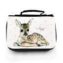 Waschtasche Waschbeutel Kulturbeutel Kosmetiktasche Reisewaschtasche Reh Rehkitz Bambi mit Punkten und Wunschnamen washbag toilet bag sponge bag cosmetics bag travel washbag deer fawn roe with dots and custom name wt066