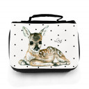 Waschtasche Waschbeutel Kulturbeutel Kosmetiktasche Reisewaschtasche Reh Rehkitz Bambi mit schwarzen Punkten und Wunschnamen washbag toilet bag sponge bag cosmetics bag travel washbag deer fawn roe with black dots and custom name wt066c