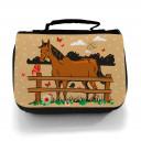Waschtasche Kosmetiktasche Pferd auf Weide Wunschname toilet bag horse on willow desired name wt004
