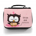 Waschtasche Kosmetiktasche Eule Prinzessin keep kalm and be princess toilet bag owl princess wt011