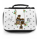 Waschtasche Kosmetiktasche Eulen auf Schaukel mit Blumen Schmetterling Punkten und Wunschname toilet bag owls on swing with butterfly flowers dots and desired name wt013