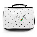 Waschtasche Kosmetiktasche Schmetterling mit Blume Punkten und Wunschname toilet bag butterfly with flower dots and desired name wt014