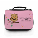 Waschtasche Kosmetiktasche Eule auf Ast jeden Morgen die gleiche Frage toilet bag owl on branch every morning the same question wt042