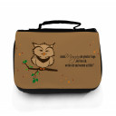 Waschtasche Kosmetiktasche Eule auf Ast jeden Morgen die gleiche Frage toilet bag owl on branch every morning the same question wt043