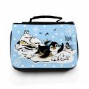 Hauptbild Waschtasche Pinguine auf Eisscholle mit Schneeflocken und Wunschname toilet bag penguins on ice floe with snowflakes and desired name wt050