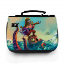 Waschtasche Waschbeutel Kulturbeutel Kosmetiktasche Reisewaschtasche Pirat auf See mit Octopus und Wunschnamen Washbag toilet bag sponge bag cosmetics bag travel washbag pirate on sea with octopus and custom name wt118