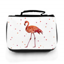 Waschtasche Waschbeutel Kulturbeutel Kosmetiktasche Reisewaschtasche Flamingo mit Wunschnamen und Punkte washbag toilet bag sponge bag cosmetics bag travel washbag flamingo with custom name and dots wt134