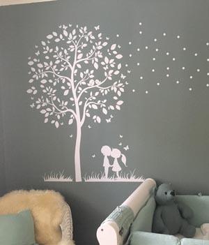 M1774 Wandtattoo Baum mit Kinder